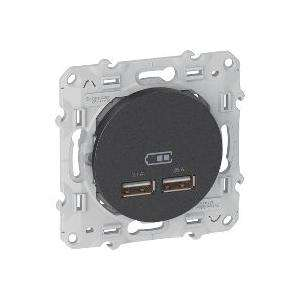 Odace double chargeur usb 2.1 A Anthracite SCHNEIDER S540407
